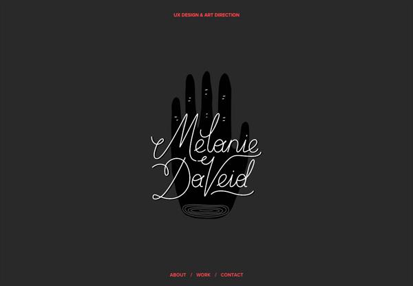 Dark web design example: Melanie Daveid