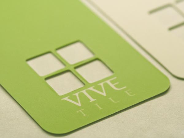 die cut business card.
