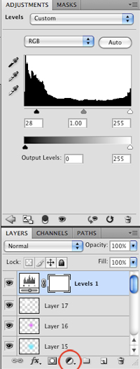 Create a Levels Adjustment Layer