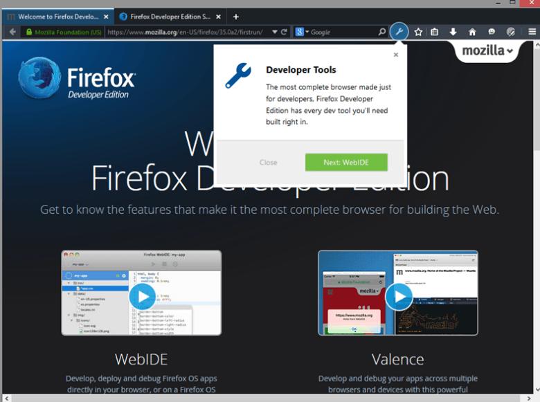 édition développeur firefox
