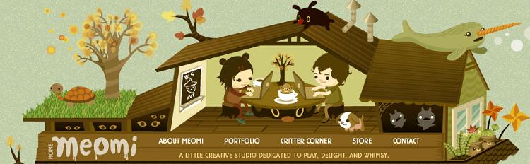 meomi illustrative website header