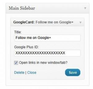 Google Plus Widget Admin
