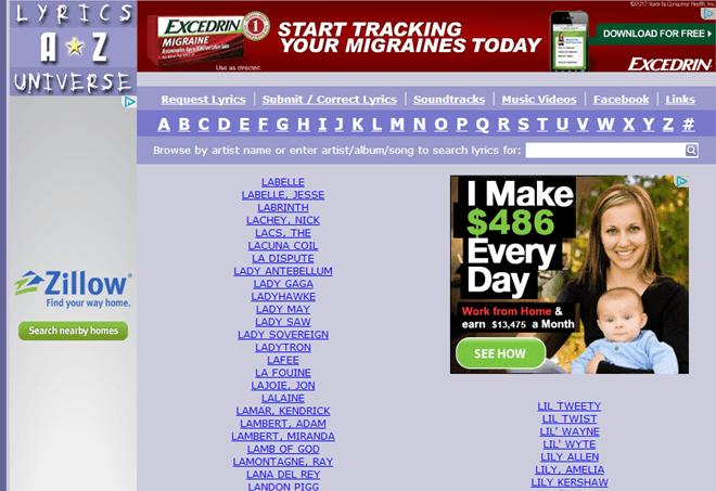 Lyrics Site Example