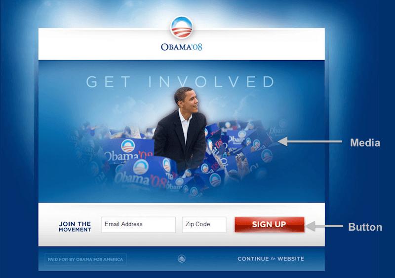 obama campaign original splash page