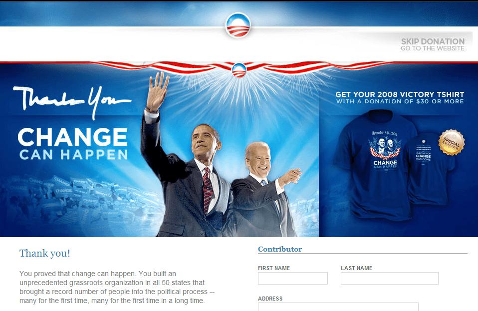 2008 obama campaign thank you splash page