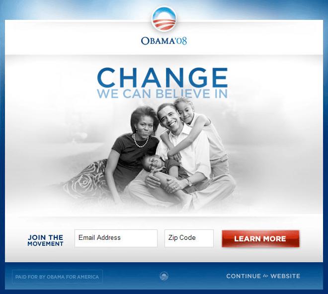 obama campaign winner splash page