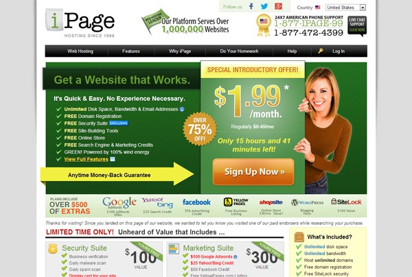Home page of iPage.