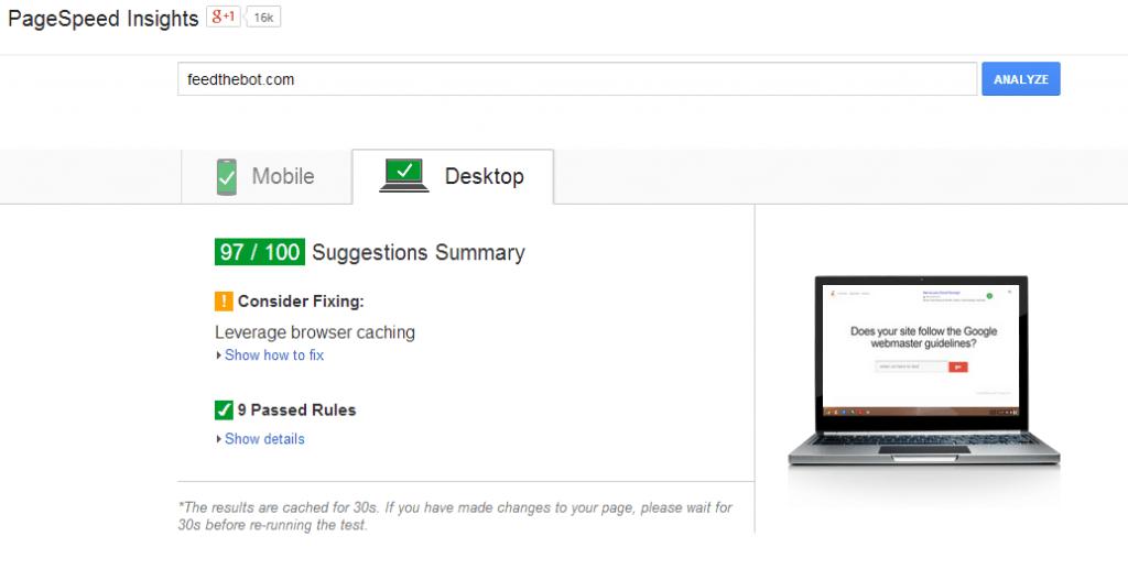 FeedtheBot PageSpeed Insights