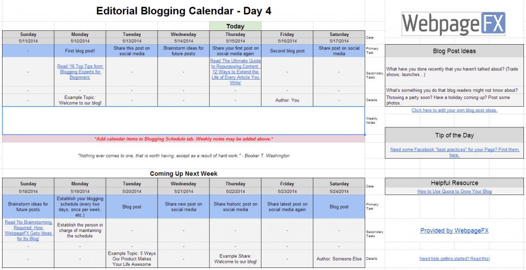 blogging calendar tab