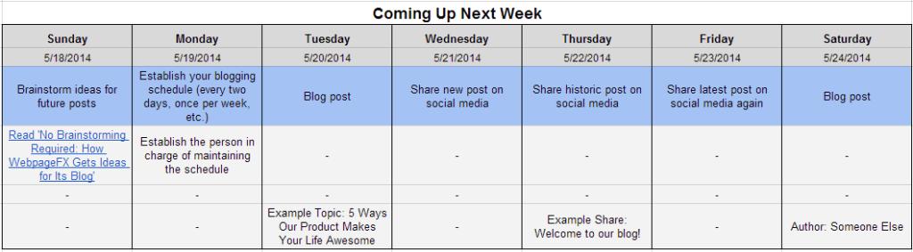 next week blogging calendar