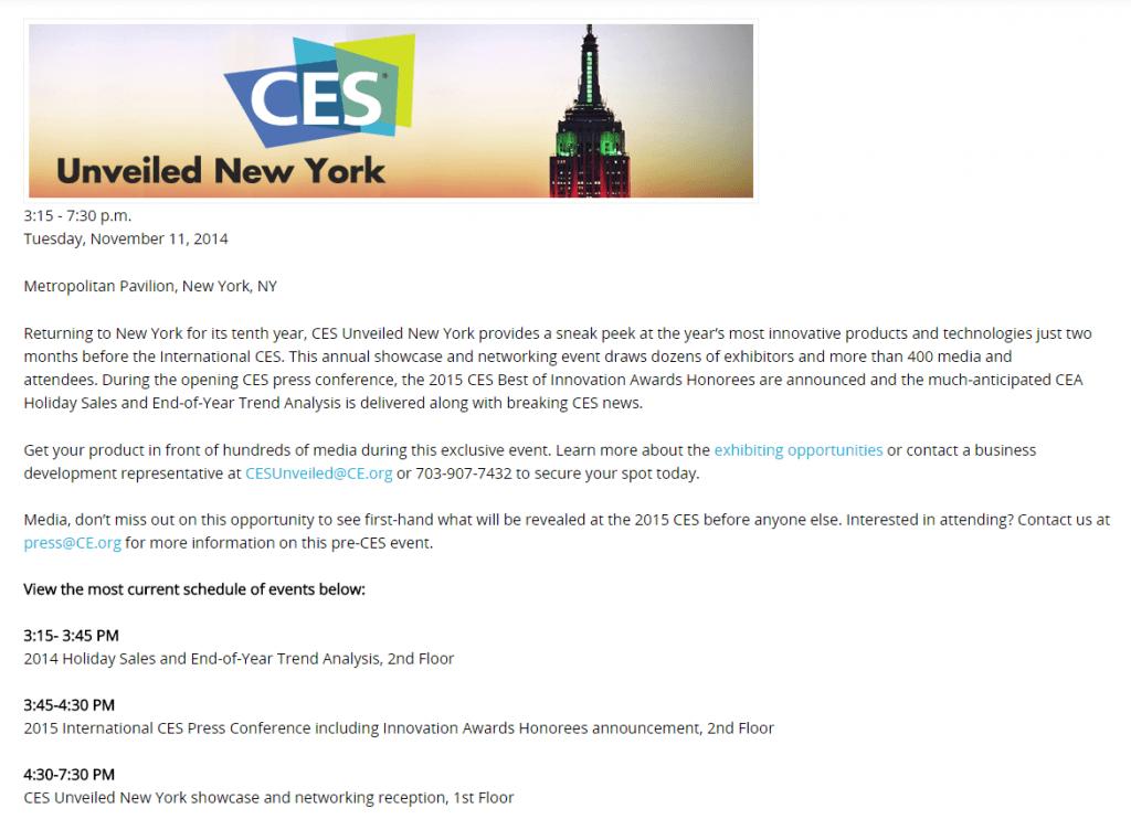 CES-schedule