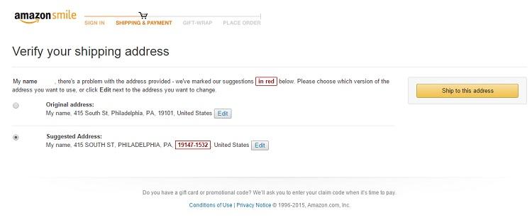 amazon verify shipping