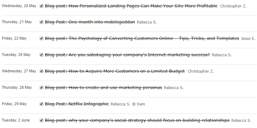 blog agenda