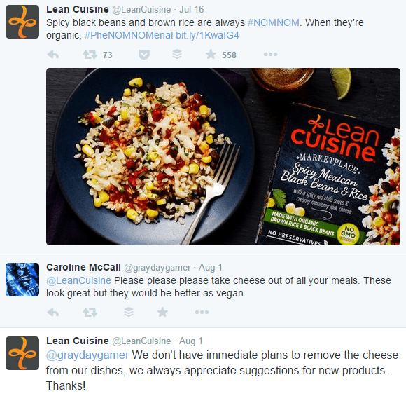 lean cuisine vegan comment