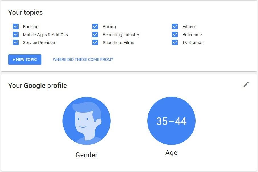 Google profile info
