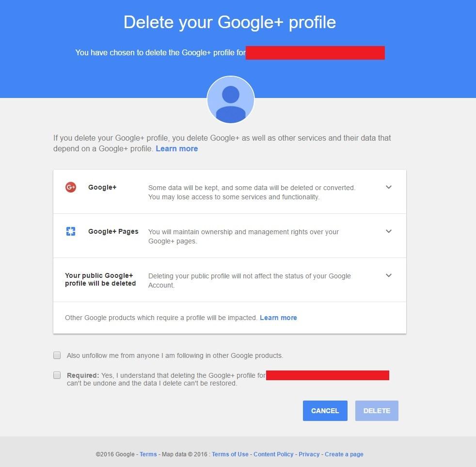 Delete Google+ profile menu