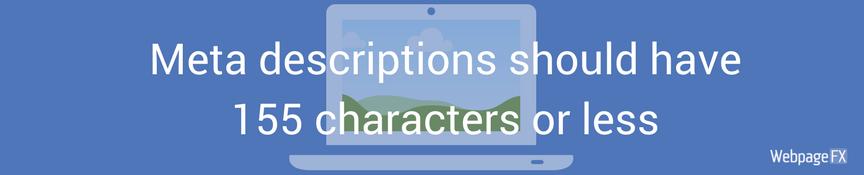 Meta descriptions should have 150 characters or less