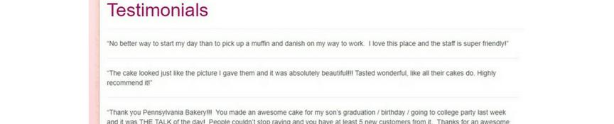 pa bakery testimonials