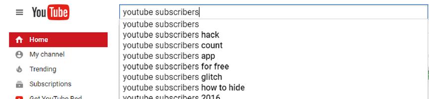 Screenshot of YouTube search