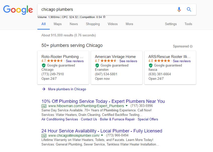 Screenshot of Google guaranteed Chicago plumbers