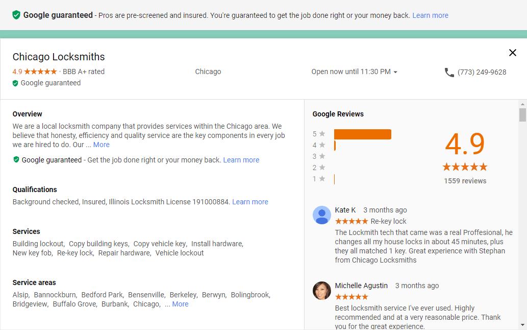 Screenshot of Google guaranteed details
