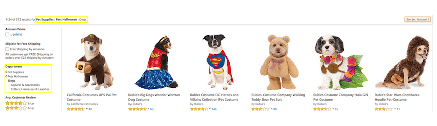 A screenshot of categories on amazon for optimization