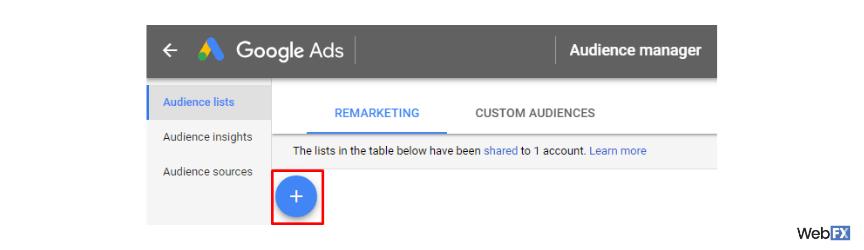 A screenshot of the create button in Google Ads