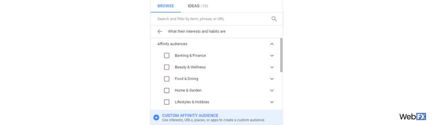 A screenshot of custom affinity audience creation