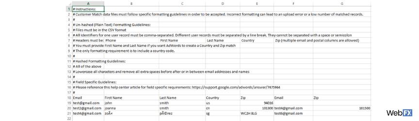 A screenshot of a custom audience template file