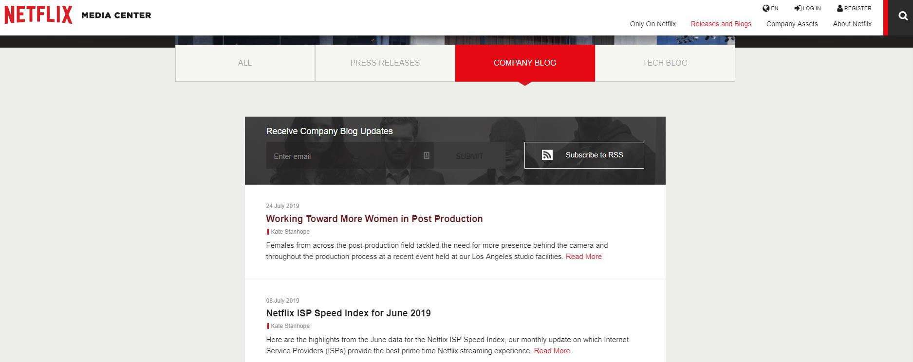 Screenshot of Netflix's blog