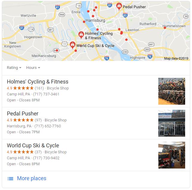 Screenshot of Google My Business listing