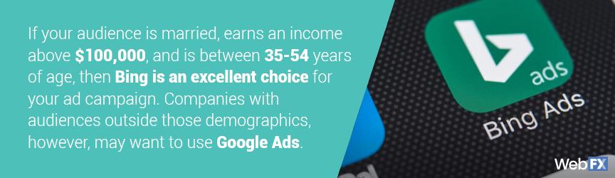 Comparison between demographics of Google Ads vs. Bing Ads