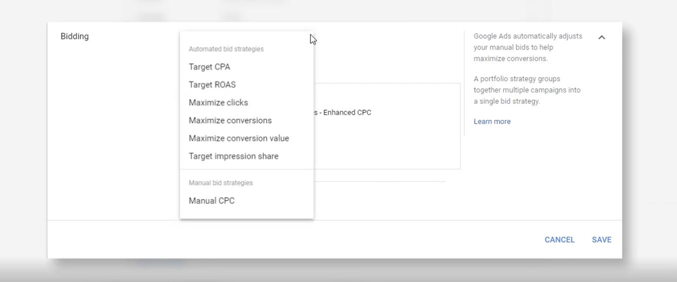 A drop down menu featuring different smart bidding options