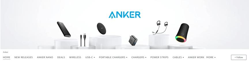Amazon brand awareness example: Anker Amazon store