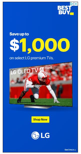 Bir LG TV'nin reklamını yapan Best Buy'dan bir görüntülü reklam