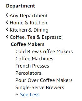 亚马逊咖啡产品类别