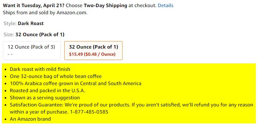 亚马逊产品功能示例