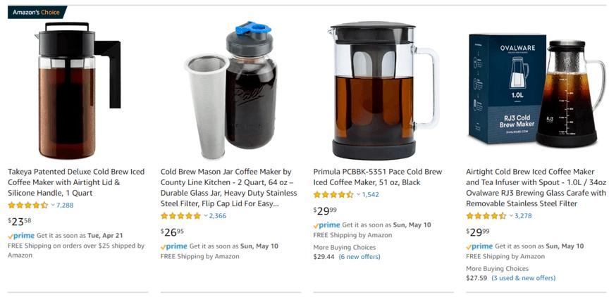 亚马逊搜索结果咖啡机