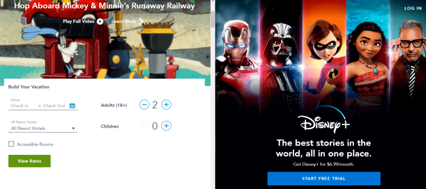 Disney subdomain comparison