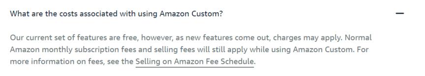 Amazon Custom:成本表