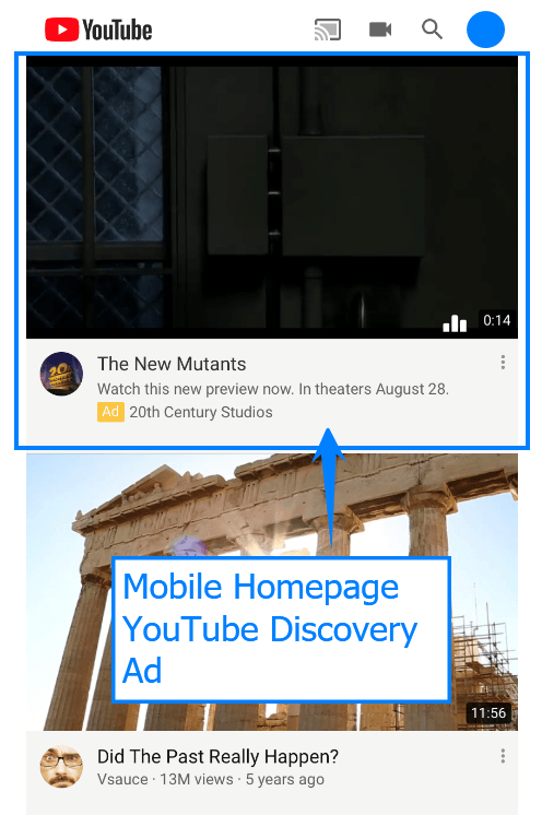 Mobile homepage YouTube discovery ad