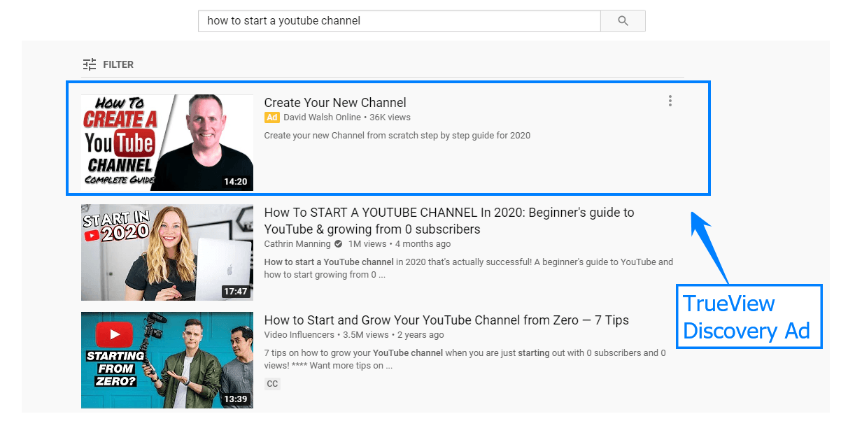 A TrueView video discovery ad in the YouTube search results