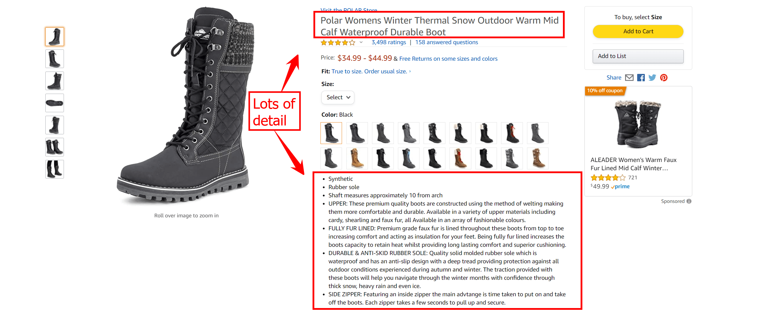 A product listing on Amazon for a winter boot