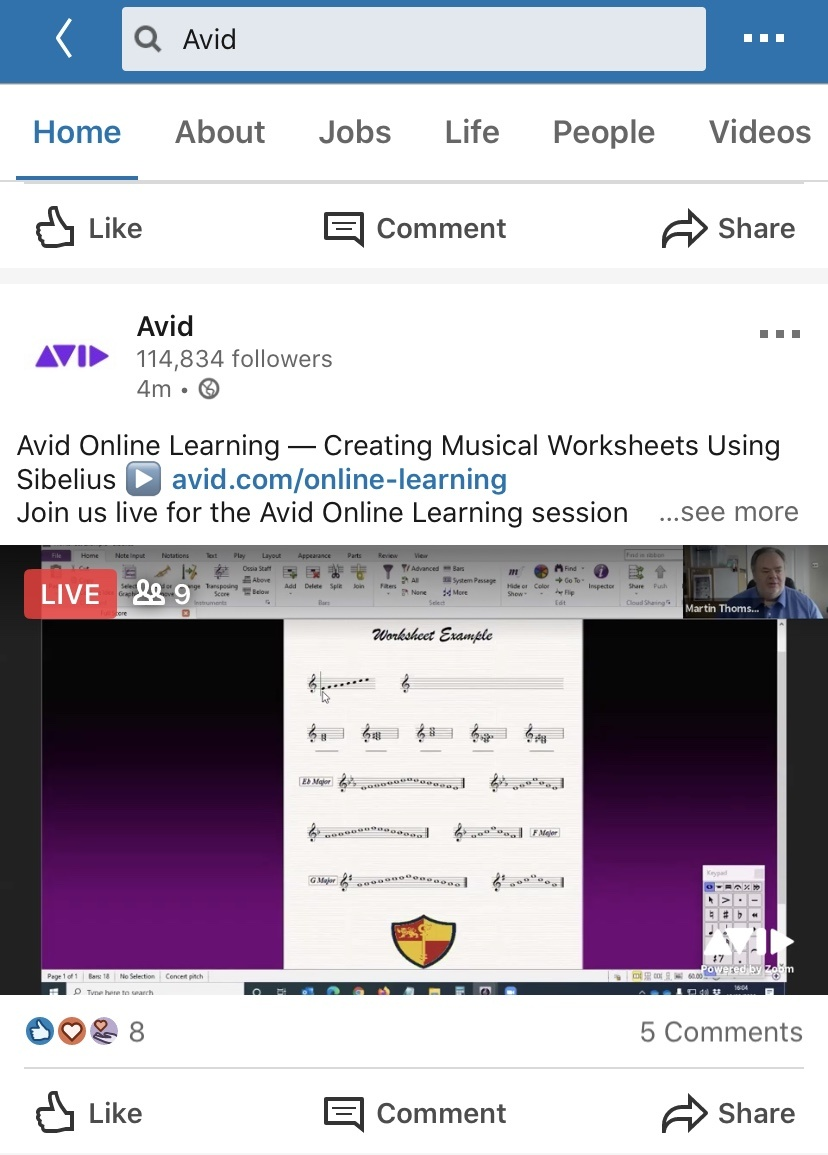 A live video post from Avid on LinkedIn