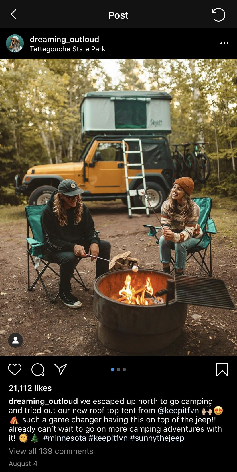 A screenshot of an Instagram post from an influencer featuring a campsite and a tent