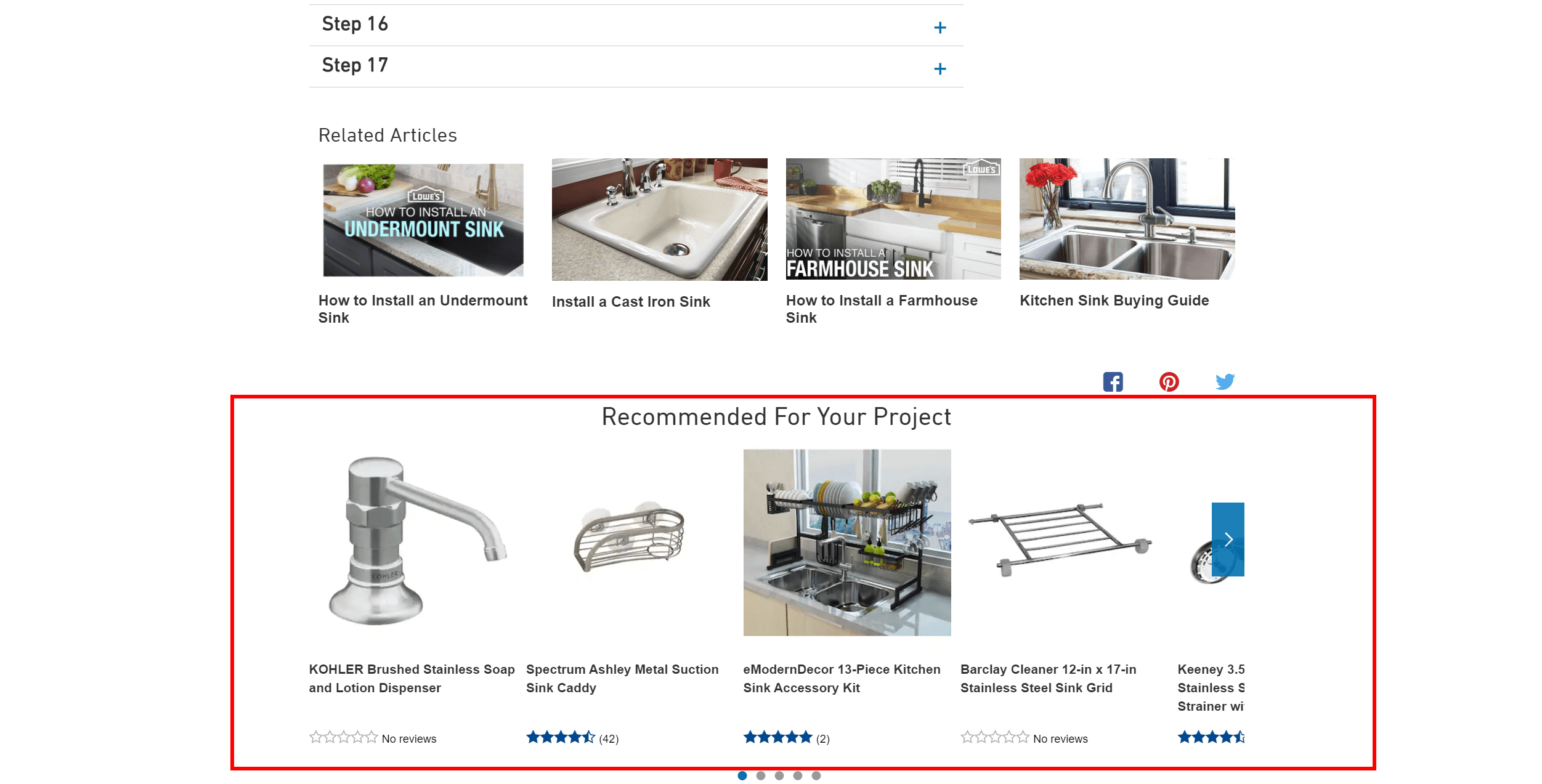 Recommended products from the Lowe's website