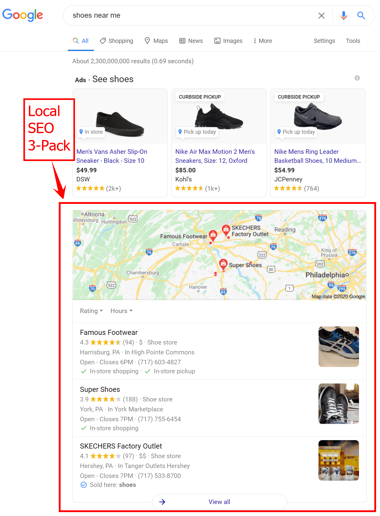 """Local SEO 3-pack results for a Google search of """"shoes near me"""""""