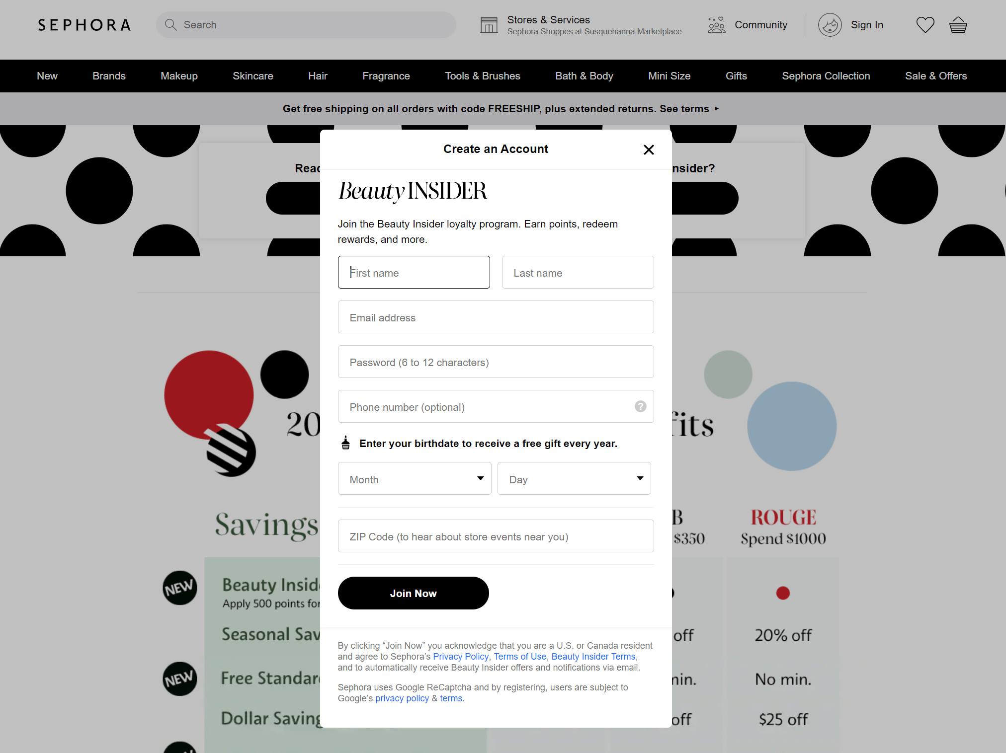 A sign-up page for the Sephora rewards program