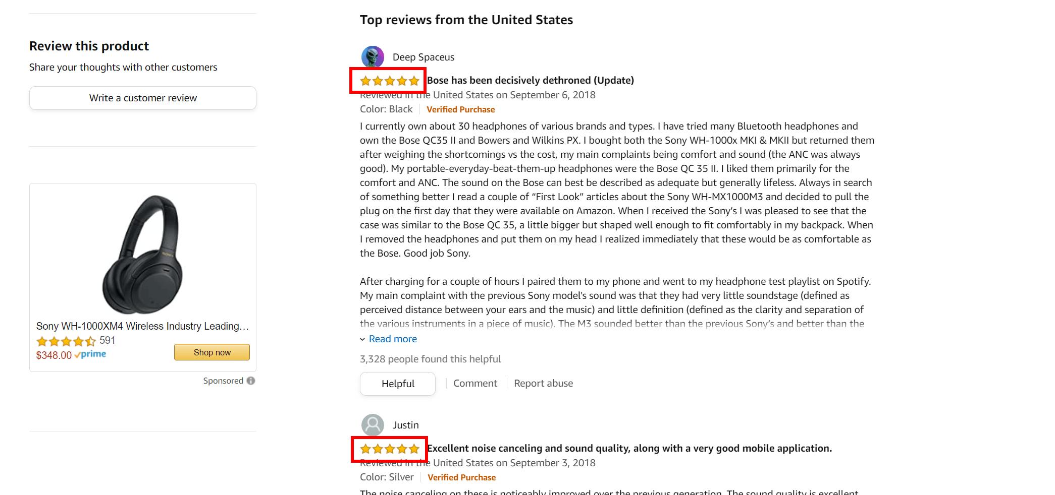 Two positive reviews of Sony headphones on Amazon