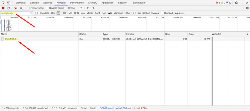 Checking Google Analytics in dev tools